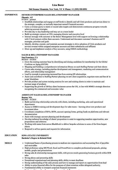 relations resume sles 98 relationship manager resume sle manager