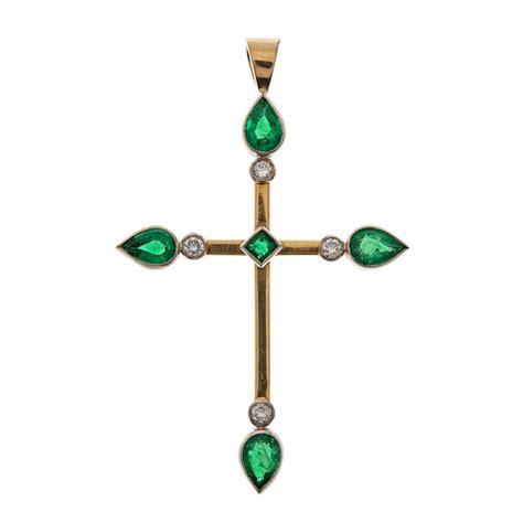 Cross Drop Necklace edwardian emerald and cross emerald
