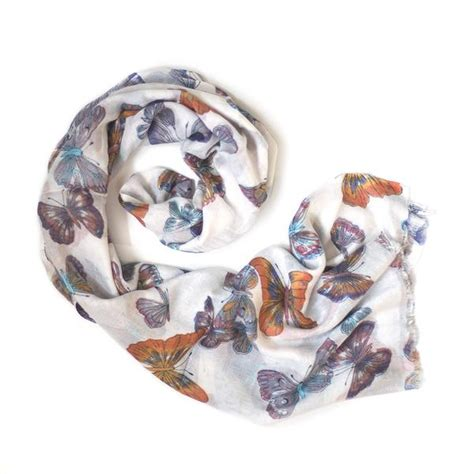 Scarf Printing 3037 white sunset butterfly print scarf from the source