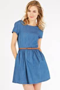 Blue denim round neck short sleeve casual dress casual dresses women