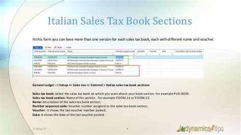 tax sections italian sales tax books dynamics ax 2012