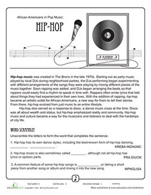 printable music lesson plans history of rock and roll history of hip hop music worksheet education com