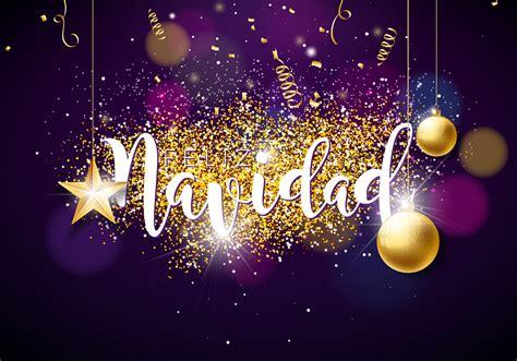 christmas illustration  spanish feliz navidad typography glass ball confetti serpentine
