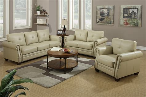leather sofa and loveseat poundex f7784 beige leather sofa and loveseat set steal