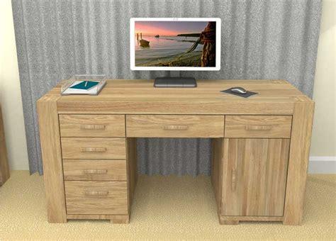 Oak Laptop Desk Baumhaus Cmr06b Atlas Solid Oak Pedestal Computer Desk