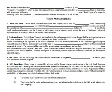 simple commercial lease agreement sle lease agreement 8 documents in pdf word