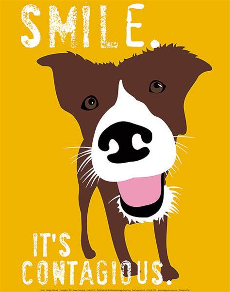 printable dog poster smile it s contagious by ginger oliphant art print fun