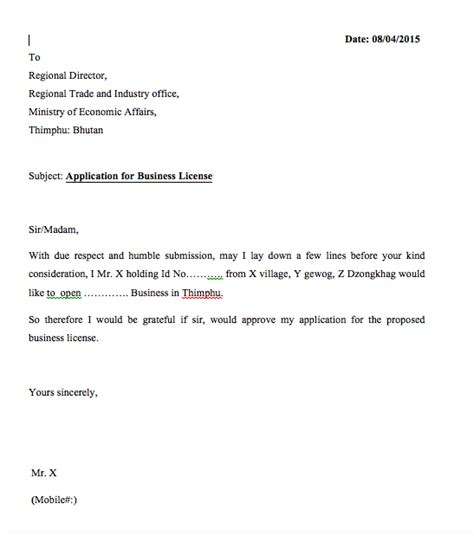 letter applying for a business permit application letter for license