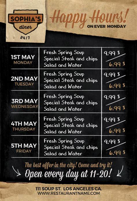 Happy Hour Menu Template restaurant happy hour food menu flyer template