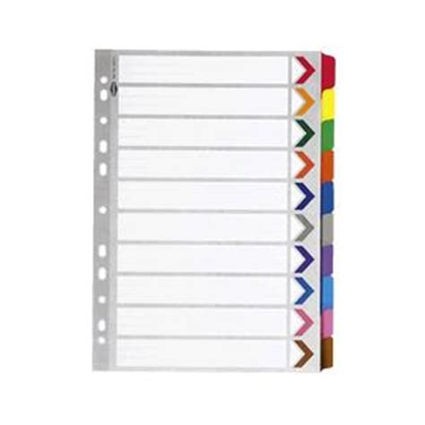 marbig cellotab a4 10 tab divider multi coloured 35017