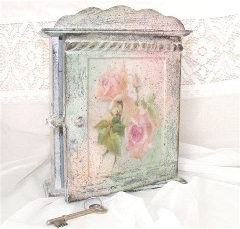 shabby chic key cabinet rustic key from selenartedecoupage on