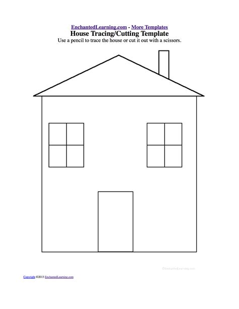 house template tracing cutting templates enchantedlearning