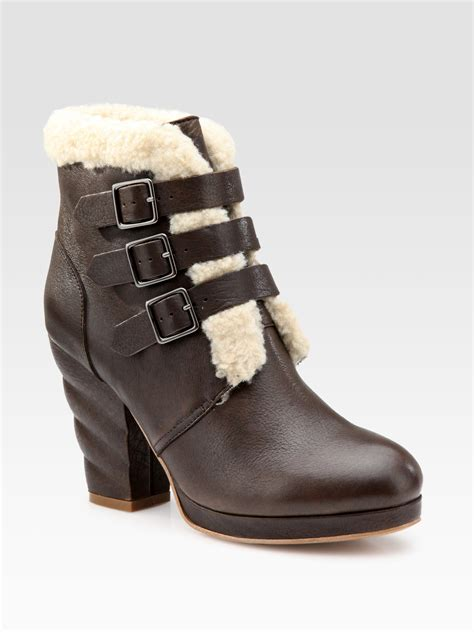 buckle ankle boots see by chlo 233 leather and shearling buckle ankle boots in