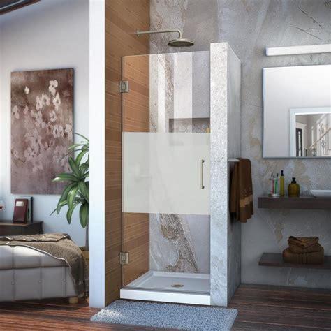 Shop Dreamline Unidoor 30 In To 30 In Frameless Brushed Dreamline Frameless Shower Door