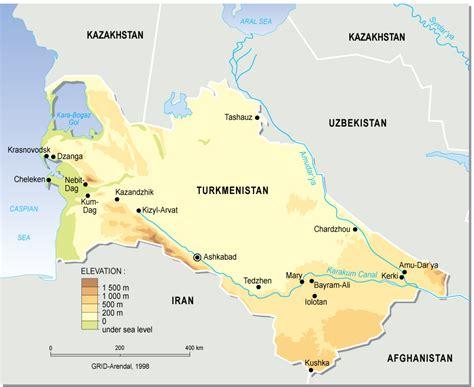 physical map of turkmenistan turkmenistan oksana aegee