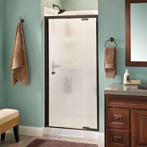 Rainx For Shower Doors Delta Mandara 36 In X 66 In Semi Frameless Pivot Shower Door In Bronze With Glass 159332