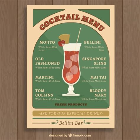 vintage cocktail vector vintage cocktail menu template vector free