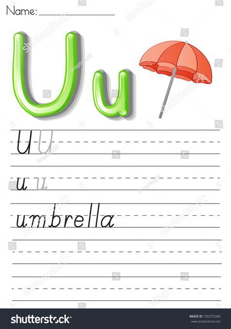 the illustrated a z of illustrated alphabet worksheet letter u stock illustration 105275306 shutterstock