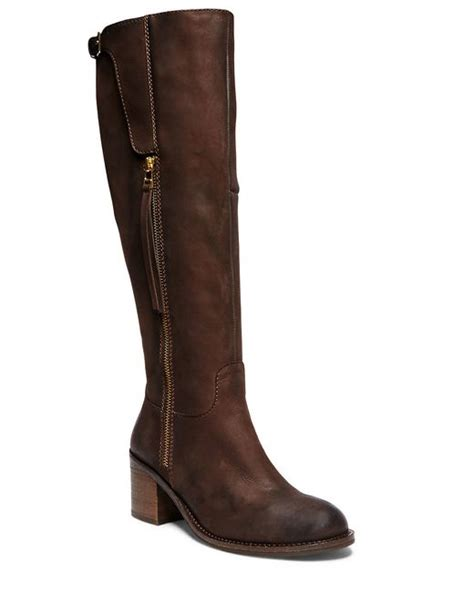 steve madden antsy knee high leather boots in brown save