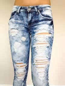 Indigo Bedding New Machine Jeans Ripped Destroyed Distressed Women Stone