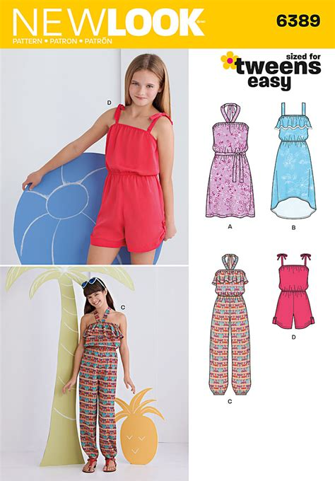 free pattern jumpsuit girl new look 6389 girls easy jumpsuit romper and dresses