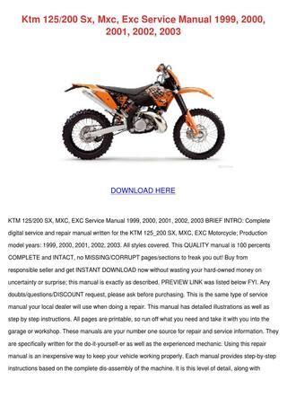 Ktm 125200 Sx Mxc Exc Service Manual 1999 200 By Sherika