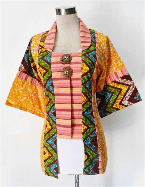 Blus Tenun Ikat Pink Handmade 256a baju batik wanita untuk kerja baju kerja batik