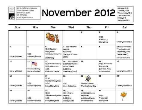 Calendar November 2012 End Branch Library November 2012 Calendar