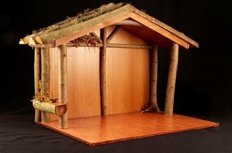 rustic wooden nativity stable