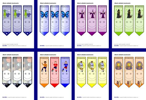 printable bookmarks sparklebox editable blank bookmarks 2 sb6257 sparklebox