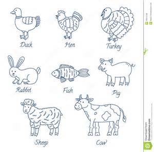 meat animals cartoon set stock vector image of outline
