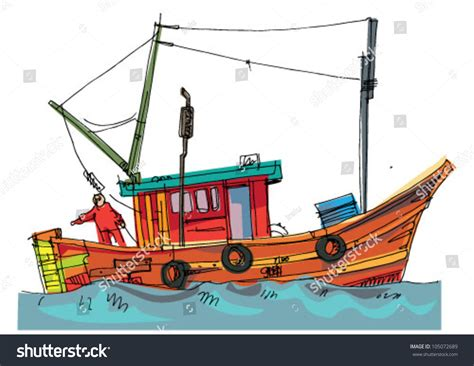 cartoon jon boat fishboat cartoon caricature stock vector 105072689