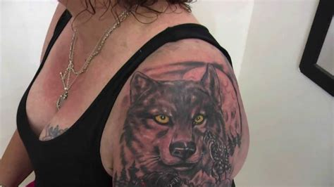 how to tattoo american indian amp wolf half sleeve freehand