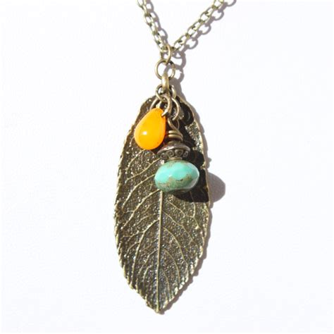 leaf necklace pendant metal necklace boho necklace pendant