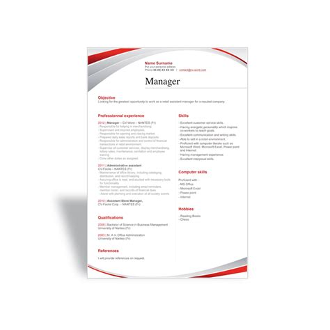 Resume Template Manager Word And Write A Great Word Cv R 233 Sum 233 Template Manager