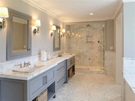 gray master bathroom ideas gray vanity w open shelves marble shower