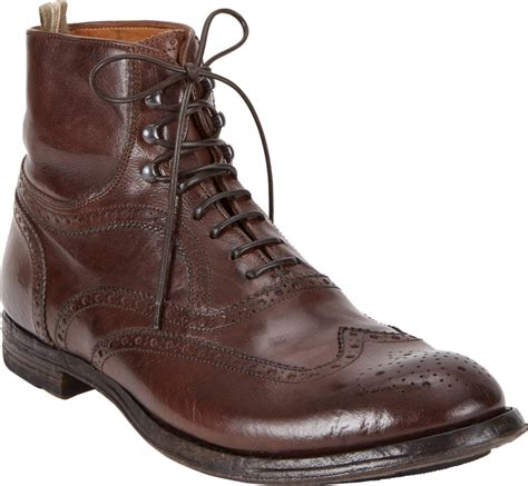 officine creative wingtip ankle boots in brown for lyst