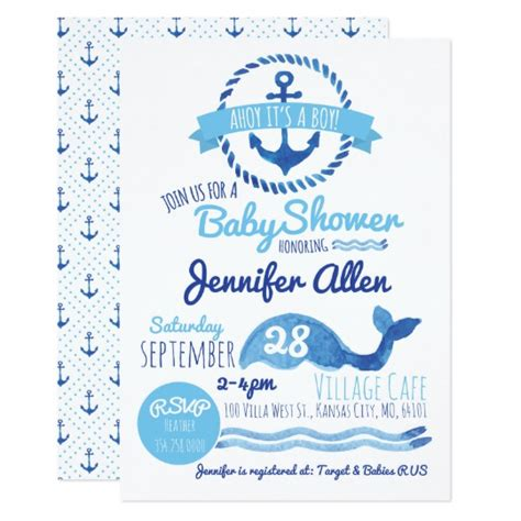 Ahoy Baby Boy Baby Shower by Ahoy It S A Boy Baby Shower Invitation Zazzle Co Uk