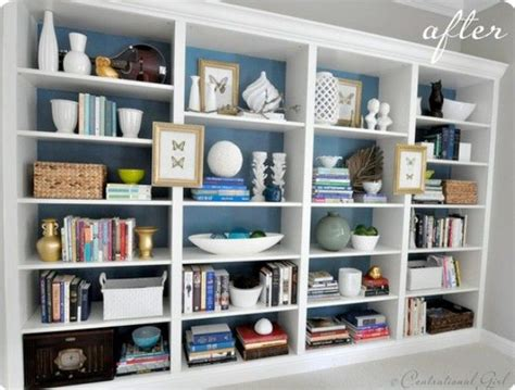 lots of bookcase organization ideas for the home