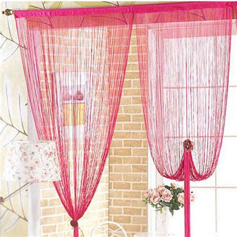 drawstring drapes fuschia string curtain