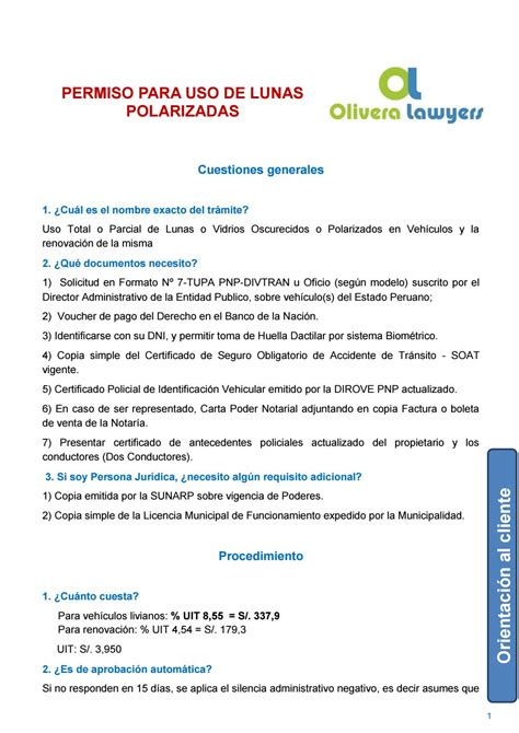 pago del dos por ciento de la pnp fosersoe diario la primera permiso para uso de lunas polarizadas by olivera lawyers