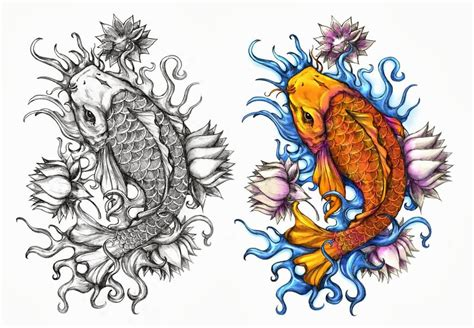 koi flower tattoo designs orange koi with three lotus flowers design by