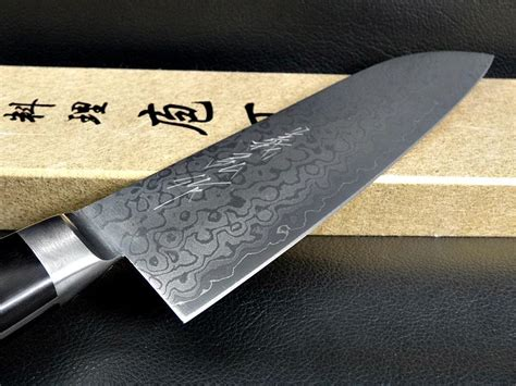 Handmade Japanese Kitchen Knives - damascus japanese santoku kitchen knife 165mm chef sushi