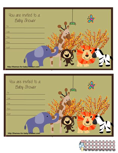 Baby Animal Baby Shower Invitations Party Xyz Safari Invitation Template Free