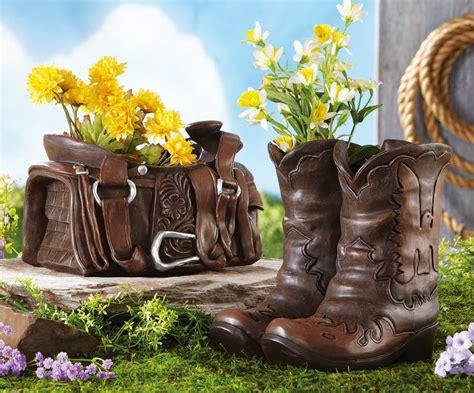 western theme outdoor garden decor cowboy boots horse