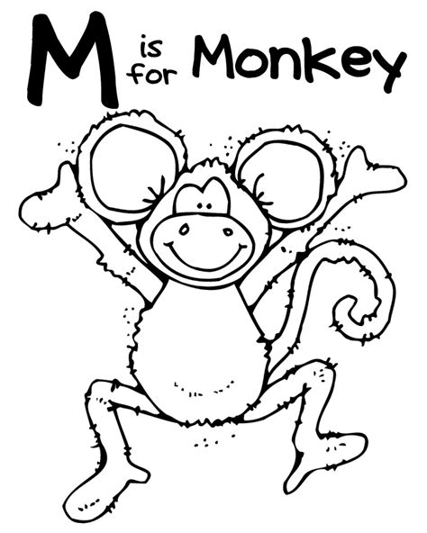 monkey coloring page preschool 12 best images of safari worksheets for preschool a z