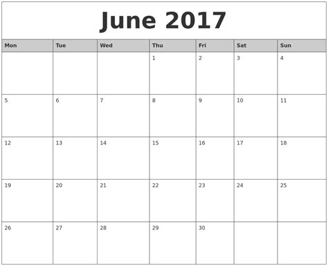 Printable Monthly Calendar Starting Monday | june 2017 monthly calendar printable