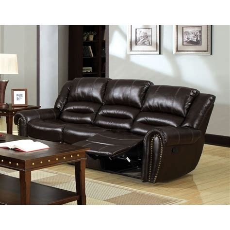 faux leather sofa amazon furniture of america hubbard faux leather reclining sofa