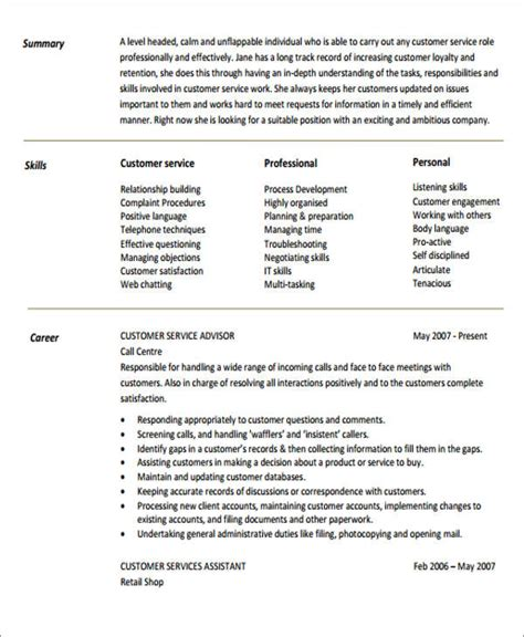 objective exles for resume customer service generic resume objective 5 exles in word pdf