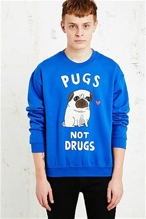gemma correll pugs not drugs gemma correll pugs not drugs sweatshirt in blue outfitters